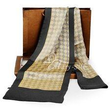 Fashion Mens 100% Silk Long Scarf/Cravat Scarives Double Layer