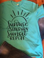 Sunrise, Sunburn, Sunset Repeat  Bella+Canvas Unisex Graphic Tshirt