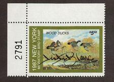 NY3 - New York State Duck Stamp. Top Left  PNS. Artist Signed.  MNH. OG.