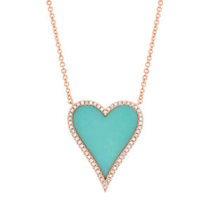 14K Rose Gold Diamond Turquoise Heart Pendant Necklace Love Womens 1.93 TCW