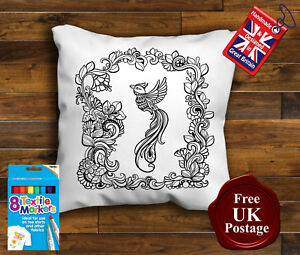 Bird Colouring Cushion Cover, Bird Cushion, with 8 x Fabric Pens Handmade