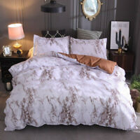 Brown Marbled Duvet Cover Set Queen King Size Bedding Set Pillowcases US