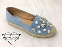 Footwear Sale Women  Espadrilles Pearls Bee Flat Shoes Round Toe Casual SIZE