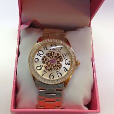 NWT Betsey Johnson Women's Goldtone Leopard Flower Watch $150