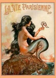 1925 La Vie Parisienne Mermaid French Nouveau France Travel Advertisement Print
