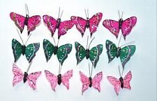 12 Feather Butterflies for Crafts Size Approx 50 X 40mm Pink/Green/Cerise NEW