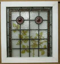 """VICTORIAN ENGLISH LEADED STAINED GLASS WINDOW Hand Painted Vines 18.75"""" x 20.5"""""""