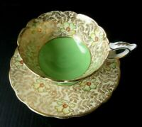 ROYAL STAFFORD GREEN FLORAL GARLAND GOLD CHINTZ TEA CUP AND SAUCER
