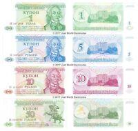 Transnistria 1 + 5 + 10 + 50 Rubles Set of 4 Banknotes 4 PCS UNC