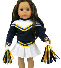 """3 Piece Navy Blue/White Cheerleader Outfit for 18"""" American Girl Doll Clothes"""