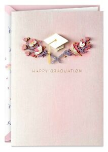 Graduation Card- Success and Happiness Mortarboard and Flowers Graduation Card