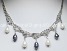Charming! 7-8mm Black White Multi-colored Akoya Cultured Pearl Necklace JN521