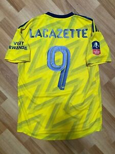 2019 2020 Arsenal Match Player Issue Away Yellow Jersey LACAZETTE FA CUP France