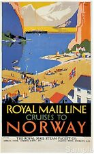 Vintage Royal Mail Line Norway Cruises Travel Poster Art Print Picture A4