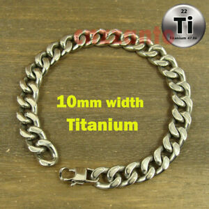 10mm width Pure Titanium Ti Anti allergy Bracelet Curb link Hand Chain Ti194