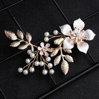 EB_ Women Fashion Prom Flower Branch Faux Pearl Alligator Hairpin Hair Clip Sple
