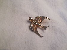 Corocraft Pegasus sterling silver w/rhinestones bird fur, coat clip, brooch