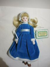 "Months to Remember Porcelain Collectible Doll January Blue Dress 8"" Soft Body"