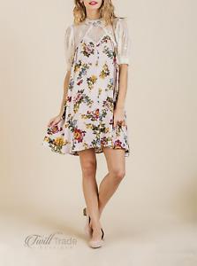 Umgee | Blush Floral Smocked Sleeve Sheer Lace High Neck Keyhole Crochet Dress