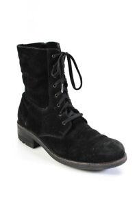 C La Canadienne Womens Suede Combat Boots Black Size 11