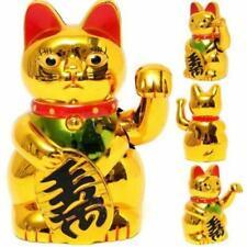 Gold Maneki Neko Cute Lucky Cat Electric Craft Art Home Shop Hotel New