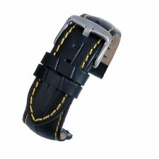 18mm Black Padded Leather Watch Strap Band Quick Release Spring Bar Yellow Stich