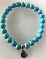 UK Beautiful Turquoise Silver Love Heart Crystal Gemstone Bead Bracelet. Reiki