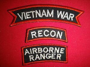 3 VIETNAM WAR Patches: + RECON + AIRBORNE RANGER