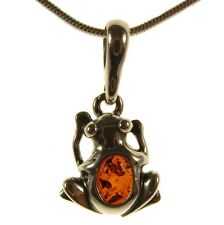 GIFT BOXED BALTIC AMBER STERLING SILVER 925 FROG PENDANT JEWELLERY JEWELRY