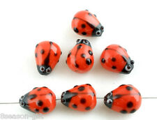 20Pcs Ladybug Lampwork Glass Spacer Beads Red 15x10mm cute lovely