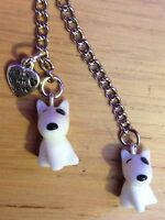 English Bull Terrier Keyring, White with Black Eye Patch, Bullie Handbag Charms