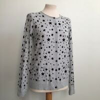 He Loves Me He Loves Me Not Grey Star Print 100% Cotton Cardigan Size S 10 BNWT