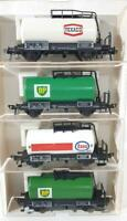 FLEISCHMANN 5400 5402 5406 HO GAUGE - 4x GERMAN DB OIL TANKER WAGONS
