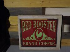 Vintage Red Rooster Coffee Glass Store Window Sign GAS OIL COLA SODA FARMHOUSE