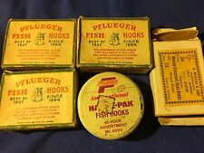 Vintage Pflueger Bulldog  & Mustard fishing hooks In Original Box  Lot