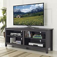 TV Stand Wood Storage Console Shelves 58 Inch Charcoal Furniture Rustic New