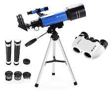 MaxUSee 70mm Refractor Telescope + 8X21 Compact Binoculars for Kids and Travel