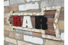 Vintage Style Bar Sign Rustic Arrow Shape Wall Plaque Man Cave Wooden Hanging