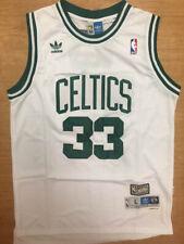 Throwback Larry Bird #33 Men's Color White Boston Celtics Classic Sewn Jersey