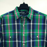 POLO Ralph Lauren WHITFIELD Flannel Shirt Men's L Large Green Blue Plaid vtg