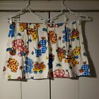 Vintage Retro Baby Children's Curtains Pleated Colorful Animals 28 X 21 VGUC