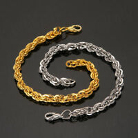 Gold Silver Stainless Steel Plated Twisted Bracelet Bangle Wristband Cuff Chain