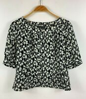Sportscraft Womens Pure Silk Top Size 10 Cropped 3/4 Sleeves Button Up