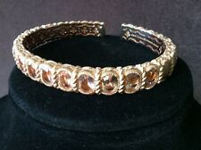 New Judith Ripka SS & 14K Rose Gold Clad 6.00ct Oval Morganite Cuff MSRP$700 Ave