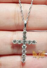 **my4angels23**Authentic 18k White Gold 1Carat Cross Diamond Necklace