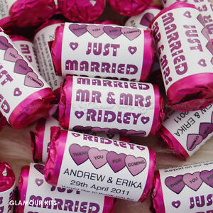 100 PERSONALISED PURPLE MINI LOVE HEART SWEETS WEDDING CANDY PARTY FAVOURS