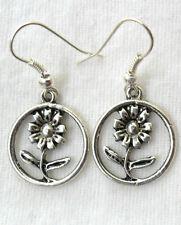 Dangle earrings - daisy flower, Tibetan silver style