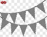 Racing Checkered Pattern Bunting Banner 15 flags by PARTY DECOR
