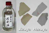 Japanese Sword Tsuba Choji Oil 100 ml PLUS 20gm Hazuya Jizuya Stones combo set