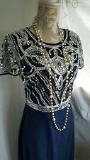 Vtg 1920,s style Gatsby downton blue sequin beaded wedding prom dress size 14 uk